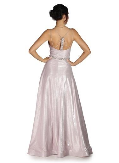Pierre Cardin Simli Taş İşlemeli Uzun Abiye Elbise Pudra